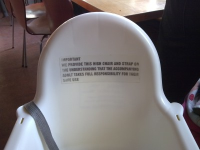 Warning on high chair