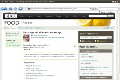 BBC carrot recipe with embarrassing URL shortening