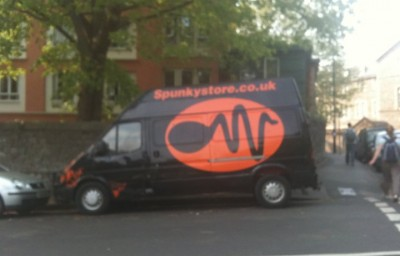 Van with sperm logo