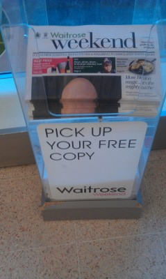 Picture of the Waitrose newspaper showing what looks like a penis on the cover