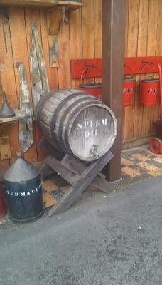 A barrel labelled Sperm oil
