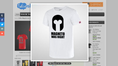 A t-shirt showing a Magneto helmet that looks like a penis and testicles