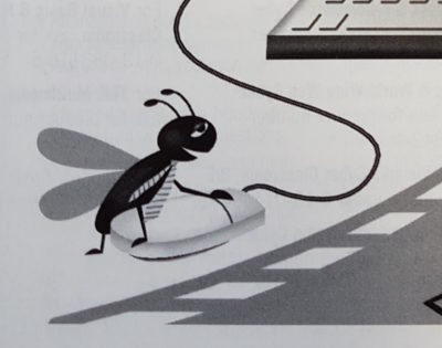 A cartoon of an insect doing something strange to a computer mouse