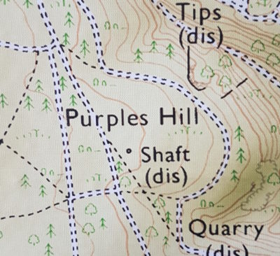 A map showing 'Purples Hill Shaft'